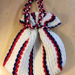 1960 boho pouch purse red white and blue colors